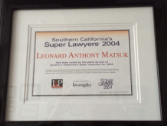 Super Lawyers Award for Leonard Matsuk